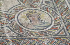 Ancient antique floor mosaic in ruins of Volubilis, Morocco Royalty Free Stock Image