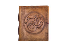 Ancient antique handmade eastern indian embossed leather book with print Royalty Free Stock Photos
