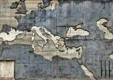 Ancient antique map on a brick wall of the Vatican Museum Royalty Free Stock Image