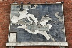 Ancient antique map on a brick wall of the Vatican Museum Stock Image