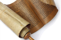 Ancient antique scroll. On white background, Israel Royalty Free Stock Photography
