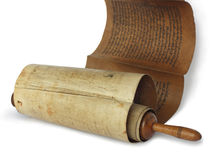 Ancient antique scroll. On white background, Israel Stock Photos