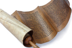 Ancient antique scroll. On white background, Israel Royalty Free Stock Photo