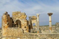Ancient antique temple column ruins stock photo