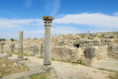 Ancient antique temple column ruins Stock Image