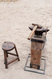 Ancient anvil for horseshoes Stock Photography