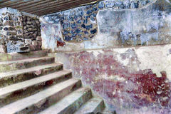 Ancient Apartments Murals Indian Ruins Teotihuacan Mexico City Stock Photo