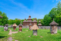 Ancient Apiary In Wooden Bee Hive Stock Photography