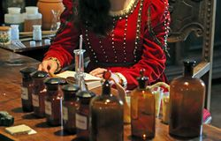 Ancient apothecary recipes in the book studies in pharmacy Stock Photo