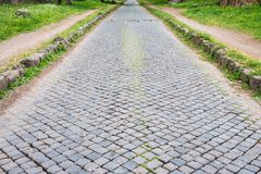 Ancient Appian way in Rome old town, Italy Royalty Free Stock Photography