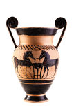 Ancient apulian vase over white Royalty Free Stock Photography