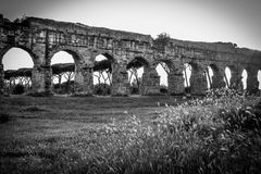 Ancient aqueduct in black and white Royalty Free Stock Image