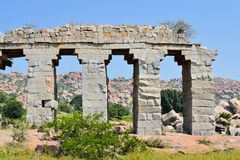 Ancient aqueduct of Hindu civilization in Hampi Royalty Free Stock Photo