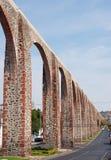 ancient aqueduct on main avenue of Queretaro, Mexico stock photography