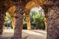 Ancient aqueduct in the park Guell Stock Image