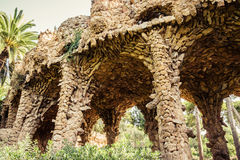 Ancient aqueduct in the park Guell Royalty Free Stock Photo