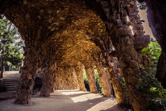 Ancient aqueduct in the park Guell Stock Images