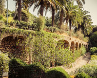 Ancient aqueduct in the park Guell Royalty Free Stock Photography