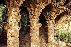 Ancient aqueduct in the park Guell Royalty Free Stock Images