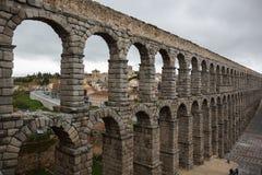 Ancient aqueduct. Segovia, Spain. Ancient ramains of oldest aqueduct in Segovia stock images