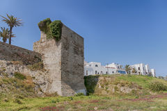 Ancient Arab wall of the town of Tarifa, Cadiz Stock Images