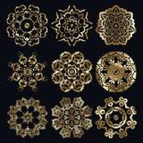 Ancient arabian motif. Golden ancient muslim motif radial ornament elements Royalty Free Stock Images