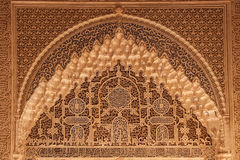 Ancient arabian ornament on a wall in Alhambra palace Royalty Free Stock Image
