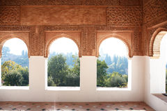 Ancient Arabian Palace. With nice windows in Alhambra. Granada, Spain royalty free stock image