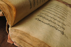 Ancient arabic book. Ancient open book in arabic. old arabic manuscripts Stock Photos