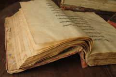 Ancient arabic book. Ancient open book in arabic. old arabic manuscripts Royalty Free Stock Photo