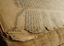 Ancient arabic book. Ancient open book in arabic. old arabic manuscripts Royalty Free Stock Images
