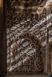 Ancient Arabic Characters. Wall detail of Alhambra UNESCO site in Granada - South of Spain. 600 years old arabic characters Stock Photography