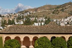 Ancient arabic fortress of Alhambra, Granada, Spain.  Royalty Free Stock Image
