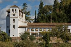 Ancient arabic fortress of Alhambra, Granada, Spain.  Royalty Free Stock Photography