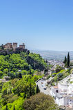 Ancient arabic fortress of Alhambra with Gypsy Cave Sacromonte District. Granada, Spain. Royalty Free Stock Photo