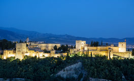 Ancient arabic fortress of Alhambra at sunset. Granada, Spain. Royalty Free Stock Photo