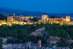 Ancient arabic fortress of Alhambra at sunset. Granada, Spain. Stock Images