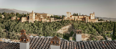 Ancient arabic fortress of Alhambra at sunset. Granada, Spain. Royalty Free Stock Images