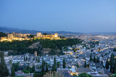 Ancient arabic fortress of Alhambra at top of Granada, Spain. Royalty Free Stock Photo
