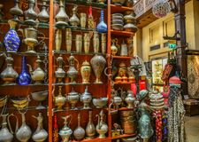 Ancient Arabic vessels for sale stock photography