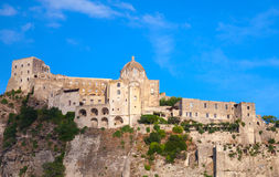 Ancient Aragonese Castle of Ischia island, Italy. Mediterranean Sea coast Stock Image