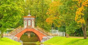 Ancient arbor in Chinese style. Old arbor in Chinese style in the autumn Alexandrovsky Park in Tsarskoe Selo in St. Petersburg Royalty Free Stock Images
