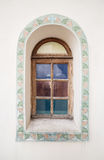 Ancient arc wooden window. With ornament Stock Images