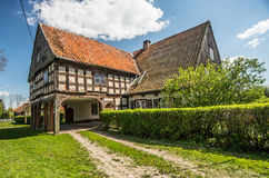 Ancient arcade house. Ancient big half-timbered arcade house of Dutch menonites in area of Zulawy Elblaskie, northern Poland Stock Photo