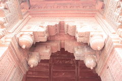 Ancient arch of Agra Fort. Ancient design on arch of Red Fort, Agra. The Red Fort built around in current state in 16th century, by Mughal emperor Shah Jahan Stock Images