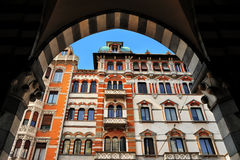 Ancient arch with architecture element. In Genova, Italy Royalty Free Stock Image