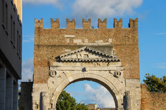 Ancient arch of Augustus (Arco di Augusto) in Rimini, Italy. Ancient arch of Augustus (Arco di Augusto) in Rimini. Italy Stock Photos