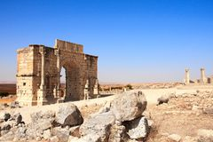Arch of Caracalla, Volubilis, Morocco. Ancient Arch of Caracalla, Volubilis, Morocco, North Africa. UNESCO world heritage site Royalty Free Stock Photos