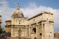 Ancient arch and cathedral royalty free stock photos