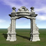 Ancient arch - 3D render. Ancient stone arch in nature by day Royalty Free Stock Photography